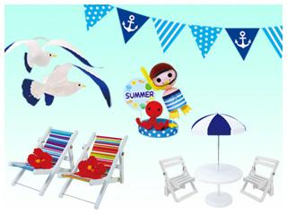 夏の行楽<ビーチ&カモメ>